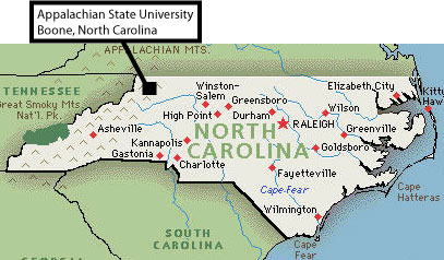 NC map showing location of Boone NC